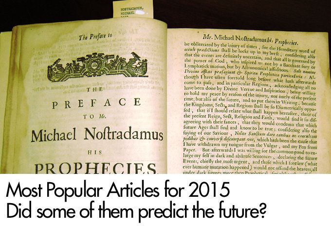 Most Popular Articles for 2015 - Did some of them predict the future?