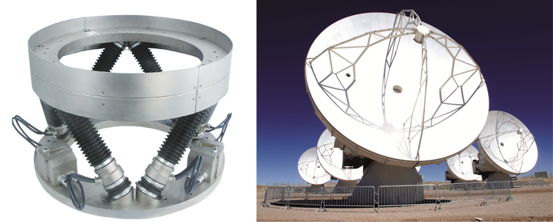 Weatherproof Hexapods, such as the H-850k model shown above, align the secondary reflectors in the world's largest astronomical telescope: The ALMA observatory in Chile (Image: PI)