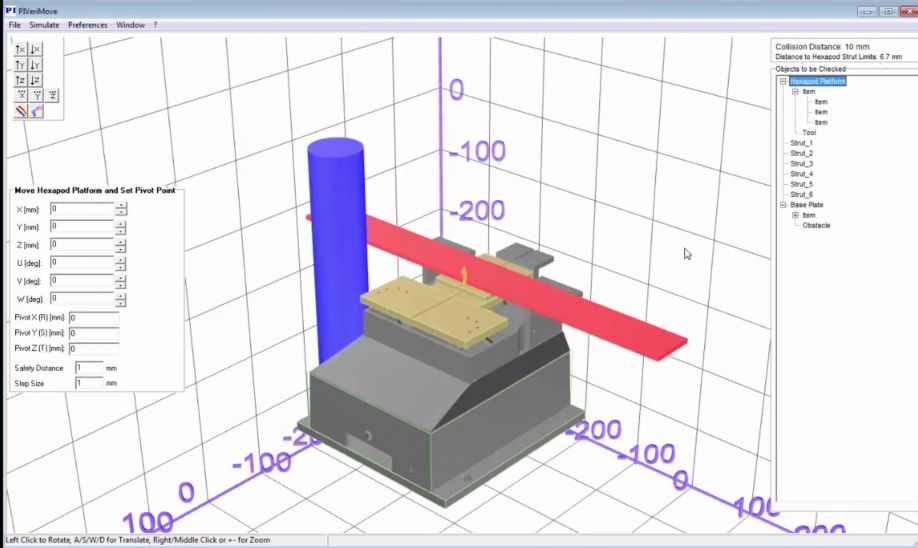 PIVerimove software tool allows simulation of interference between fixtures mounted on any PI hexapod and external obstacles. Example shows H-206 photonics alignment hexapod. (Image: PI)